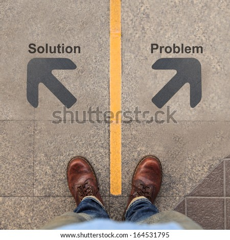 Two grey arrows with Solution and Problem - stock photo