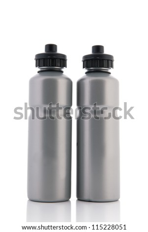 Two grey sports water bottles isolated over white bottles - stock photo