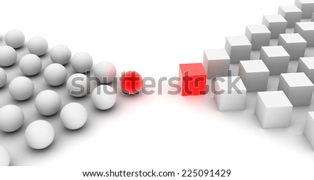 Two groups. Conflict, war or partnership? - stock photo