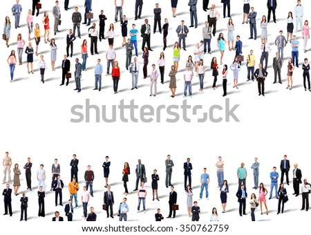 Two groups of business people. Isolated over white background - stock photo
