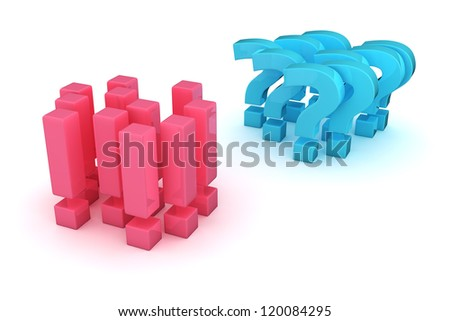 Two groups of exclamation and question marks in the opposition - stock photo