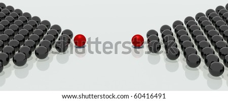 Two groups of mirror balls in the shape of arrows and headed with the red balls, indicate a single point in space - stock photo