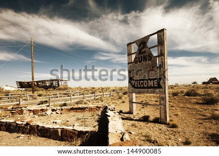 Two Guns Ghost Town along Route 66 - stock photo