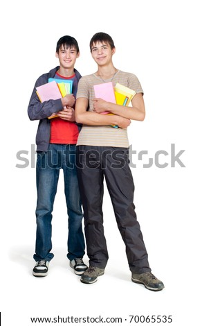 Two guys stand on a white background - stock photo