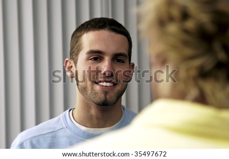 two guys talking - stock photo