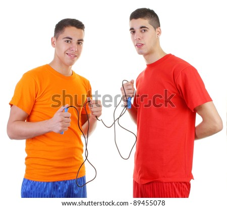 Two guys with a skipping rope