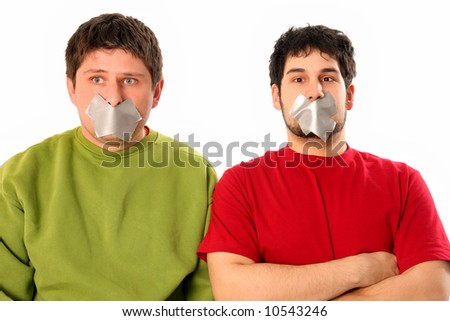 Two guys with adhesive tape on lips - stock photo