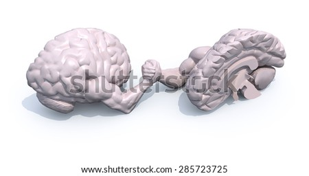 two half brains that make arm wrestling, 3d illustration - stock photo