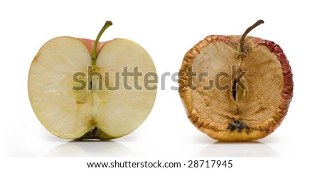 Two half of apple over white. Fresh and slice in decay. - stock photo