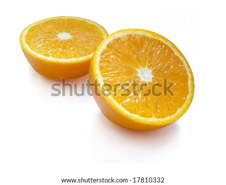 Two half of orange on white