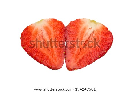 Two halves of a strawberry isolated on a white background - stock photo
