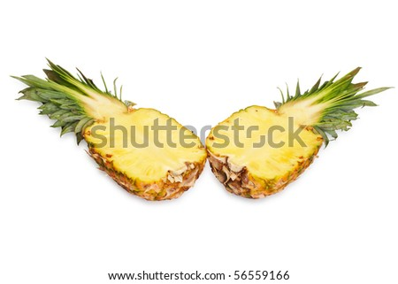 Two halves of pineapple. Isolated on white