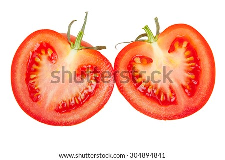 Two halves of tomato isolated on white top view - stock photo