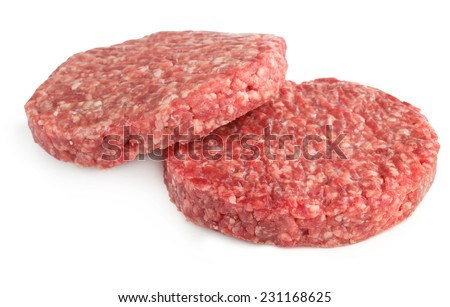 two hamburger patties isolated on white background - stock photo