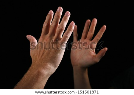 Two hand giving high five greeting stock photo royalty free two hand giving a high five as a for of greeting m4hsunfo