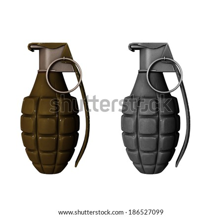 Two hand grenades on white isolated background - stock photo