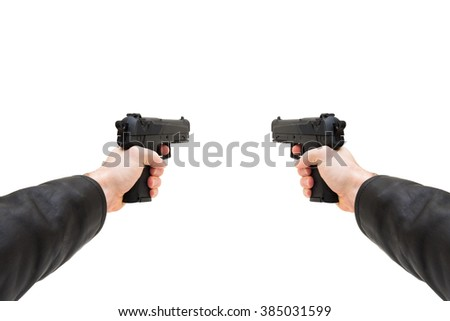 Two hand guns from first person view wide angle - stock photo