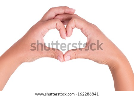 two hand heart isolated on white background