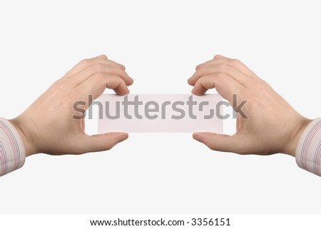 Two hand holding a white card, where you can add text, isolated on white background - stock photo