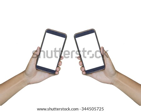 Two Hand holding smart phone isolated on white background,Isolated male hand holding a phone with white screen  - stock photo