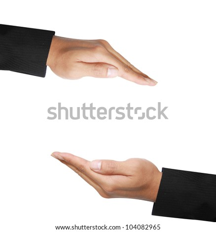 two  hand in protecting position - stock photo
