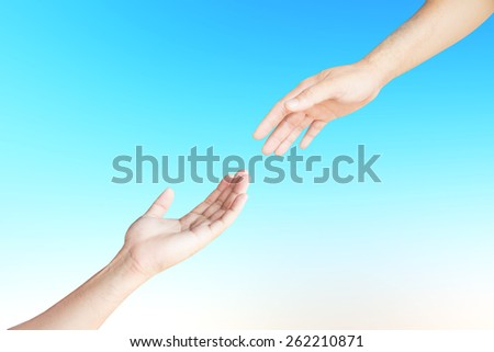 Two hand isolated on background blurred