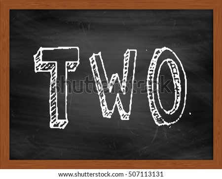 TWO hand writing chalk text on black chalkboard