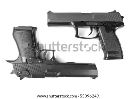 Two handguns. Desert Eagle and M23 Double Eagle - stock photo