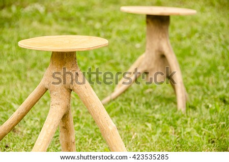 Two Handmade chair. Wood.  - stock photo