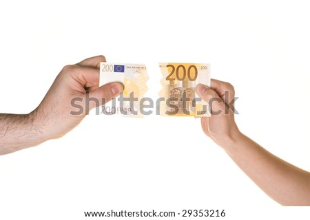 Two hands are fighting over 200 EUROS. Pulling in each direction. White background. - stock photo