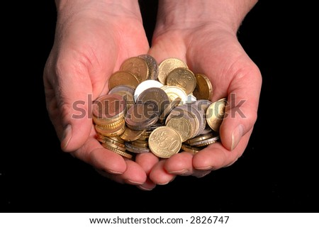 Two hands are holding european coins