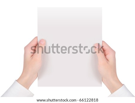 Two hands are holding up a white piece of paper on an isolated background. - stock photo