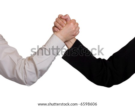 Two hands, arm wrestling, isolated on white background - stock photo