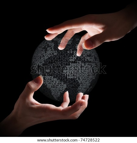Two hands around digital Earth. - stock photo