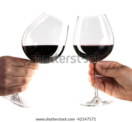 two hands cheering with glasses of red wine isolated on white - stock photo