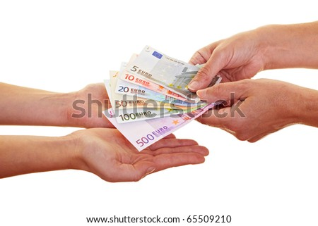 Two hands claiming many european money banknotes