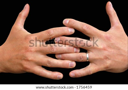 Two hands clasped together with clipping path - stock photo