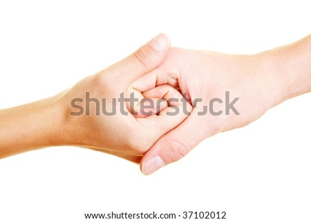 Two hands connected to a spiral - stock photo
