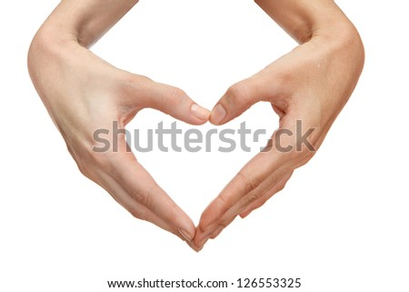 Two hands form a heart shape, isolated on white