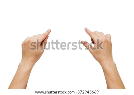 Two hands gesture set isolated on white. Composition for whiteboard - stock photo