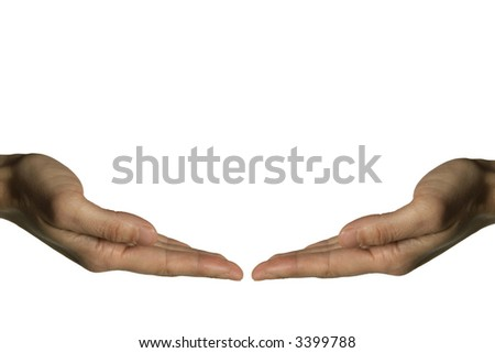 Two hands holding - stock photo