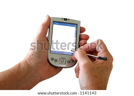 Two hands holding a PDA with a blank screen suitable for your own message. - stock photo