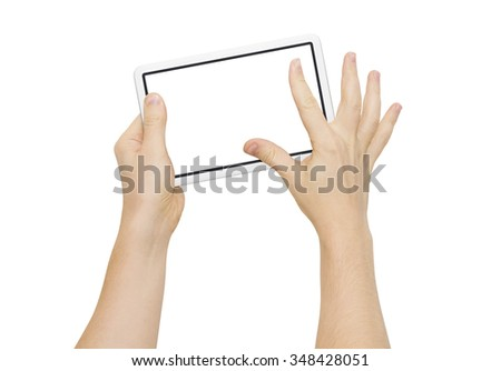 Two hands holding big screen device, zooming fingers, clipping path - stock photo