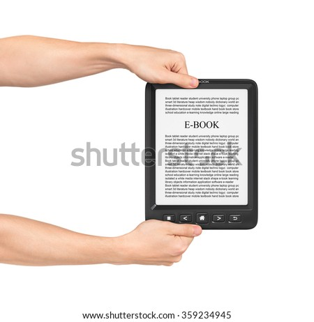 Two hands holding Board on e-book reader on a white background. - stock photo