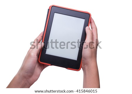Two hands holding ebook reader in red case, isolated white background - stock photo