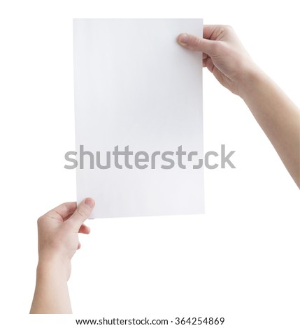 Two hands holding empty white sheet of paper, isolated on white, clipping path - stock photo
