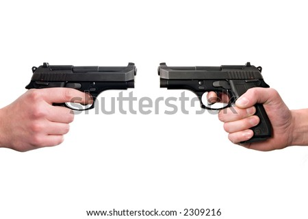 Two hands holding guns, front to front. Isolated on white background. - stock photo