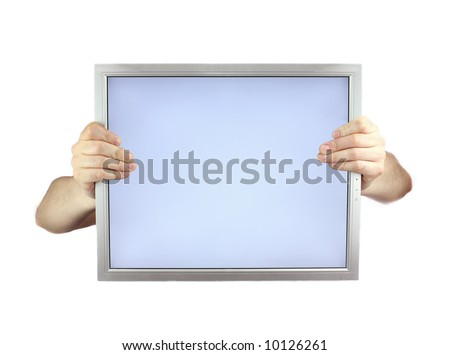 two hands holding lcd monitor - stock photo