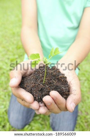 Two hands holding sapling soil.  - stock photo