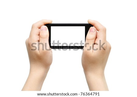 Two hands holding smart phone, playing games, clipping path - stock photo